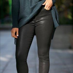Joe's Black Waxed Leather Look Sexy Jeans